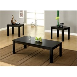 Furniture of America Demner 3 Piece Coffee Table Set in Black
