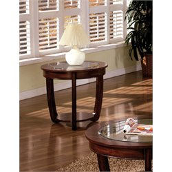 Furniture of America Tunton Round End Table in Dark Cherry