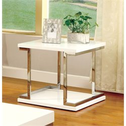 Furniture of America Bargunde Square End Table in White