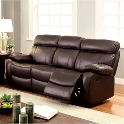 Furniture of America Slade Leather Reclining Sofa in Brown