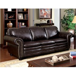 Furniture of America Tasha Leather Sofa in Mahogany