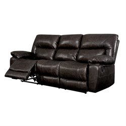 Furniture of America Viggo Leather Reclining Sofa in Camel Brown