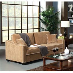 Furniture of America Trixy Upholstered Pull Out Sofa Bed in Beige