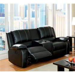 Furniture of America Maroney Leather Reclining Loveseat in Black