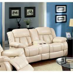 Furniture of America Frey Leather Reclining Loveseat in Ivory