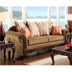 Furniture of America Eden Upholstered Sofa in Brown