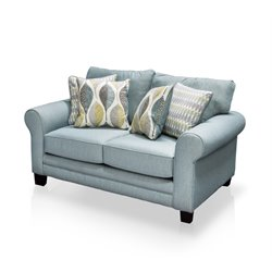 Furniture of America Tasmin Fabric Loveseat in Soft Teal