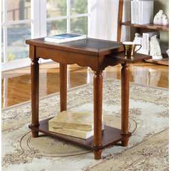Furniture of America Federico End Table with Tray in Antique Oak