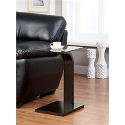 Furniture of America Higgins Glass Top End Table in Dark Walnut