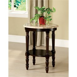 Furniture of America Donovan Oval Marble Top End Table in Dark Cherry