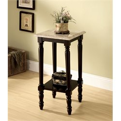 Furniture of America Donovan Square Marble Top End Table in Cherry