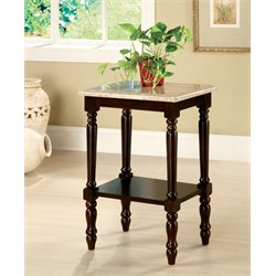 Furniture of America Donovan Marble Top End Table in Dark Cherry
