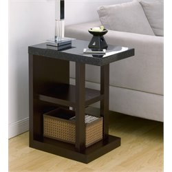 Furniture of America Mcognial Faux Marble Top End Table in Walnut