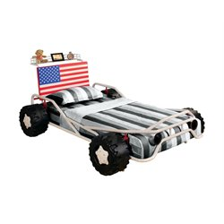 Furniture of America Whitlock Twin Metal Flag Car Bed in White