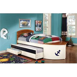 Furniture of America Bermudez Twin Boat Bed with Trundle in White
