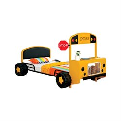 Furniture of America Rowell Twin Metal School Bus Bed in Yellow