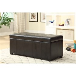 Furniture of America Tilley Faux Leather Shoe Storage Bench in Brown
