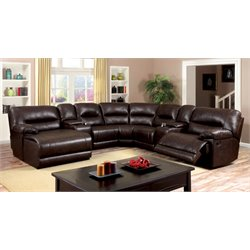 Furniture of America Bradey 2 Piece Sectional Sofa in Dark Brown