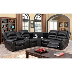 Furniture of America Chuck Faux Leather Reclining Sectional in Brown
