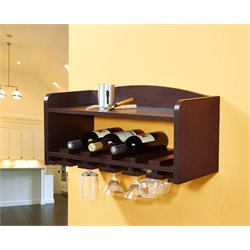 Furniture of America Lannister Wall Mount Wine Rack in Walnut