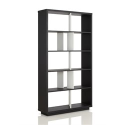Furniture of America Brittany 5 Shelf Bookcase in Black and White