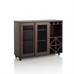 Furniture of America Alan Wine Rack Buffet with Casters in Walnut