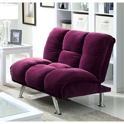 Furniture of America Napa Flannelette Futon Chair in Purple