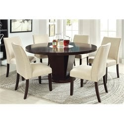 Furniture of America Janna 7 Piece Round Dining Set in Espresso
