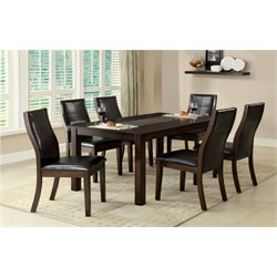 Furniture of America Stollings 7 Piece Dining Set in Brown Cherry