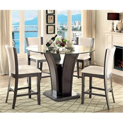 Furniture of America Sampson 5 Piece Counter Height Dining Set in Gray