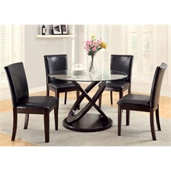 Furniture of America Lamyra 5 Piece Dining Set in Dark Walnut