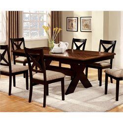 Furniture of America Hulledge Extendable Dining Table in Dark Oak