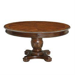 Furniture of America Caston Round Dining Table in Antique Cherry