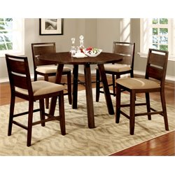 Furniture of America Samson 5 Piece Counter Height Dining Set in Oak