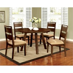 Furniture of America Samson 5 Piece Round Dining Set in Dark Oak