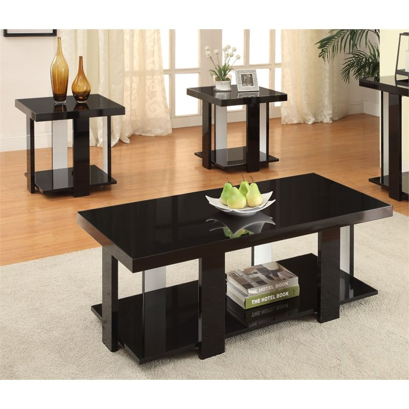 of america haven 3 piece coffee table set in black idf 4240bk 3pk