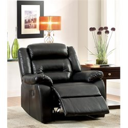 Furniture of America Elijah Leather Tufted Recliner in Black