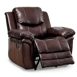 Furniture of America Klance Leather Recliner in Brown