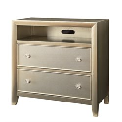 Furniture of America Maire 2 Drawer Media Chest in Silver