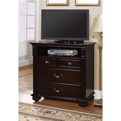 Furniture of America Damos 4 Drawer Media Chest in Dark Walnut