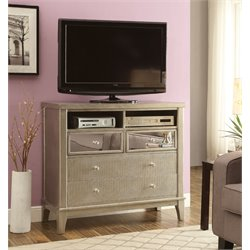 Furniture of America Bessie 4 Drawer Media Chest in Silver Gray