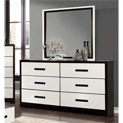 Furniture of America Pillwick 6 Drawer Dresser and Mirror Set in White