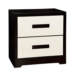 Furniture of America Pillwick 2 Drawer NIghtstand in Black and White