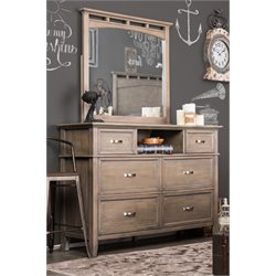 Furniture of America Ackerson 6 Drawer Dresser and Mirror Set in Oak