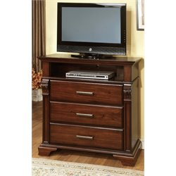 Furniture of America Vizcaino Media Chest in Antique Walnut