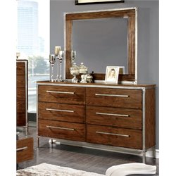 Furniture of America Jackensen 6 Drawer Dresser and Mirror Set in Oak
