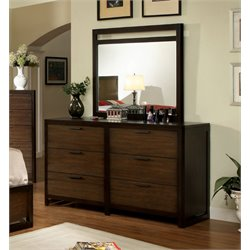 Furniture of America Gioia 6 Drawer Dresser and Mirror Set in Brown