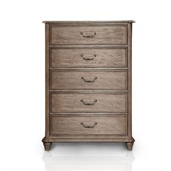 Furniture of America Bartrand 5 Drawer Chest in Castle Gray