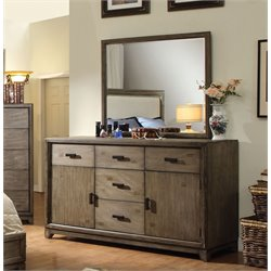 Furniture of America Muttex 5 Drawer Dresser and Mirror Set in Ash