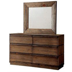 Furniture of America Benjy 6 Drawer Dresser and Mirror Set in Natural